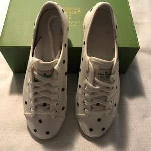 Kate Spade White/Navy Dots Sneakers NIB